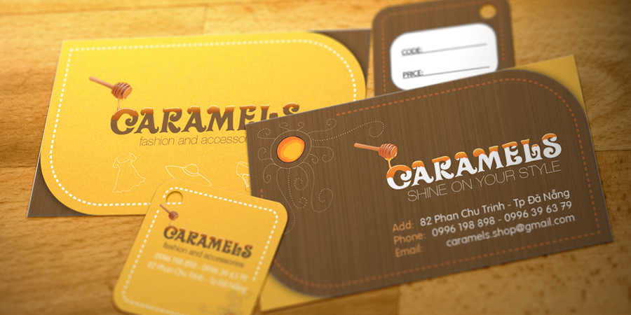 Caramels Business Card & Price Tag