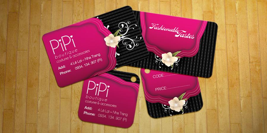 PiPi Boutique - Danh thiếp, mác ghi giá, mác quần áo